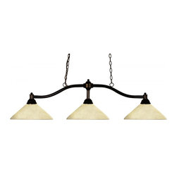 Three Light Bronze Golden Mottle Glass Island Light - Simple yet versatile detailing defines this beautiful three light fixture. Finished in bronze and paired with angle golden mottle glass shades, this three light fixture would be equally at home in the game room, or anywhere else in the house needing a touch of timeless charm.72 inches of chain per side is included to ensure the perfect hanging height.