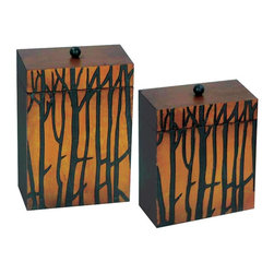 Sterling Industries - Sterling Industries Branch Boxes Set of 2 X-6810-15 - This set of Sterling Industries branch boxes features warm tones that easily draw the eye in, despite the otherwise simple box shape. Each box features a rich sunset inspired backdrop, which accentuates the darker tree silhouettes. A small round knob completes the design.