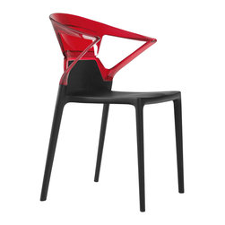 Papatya - Ego-K Armchair - Set of 4, Black Frame / Transparent Red Back - Ego-K Armchair - Set of 4