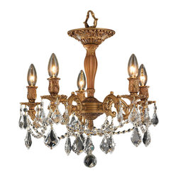 """Worldwide Lighting - Windsor 5 Light French Gold Clear Crystal 18"""" Semi-Flush Ceiling Light, Large - This stunning 5-light Flush-mount only uses the best quality material and workmanship ensuring a beautiful heirloom quality piece. Featuring a solid cast aluminum base in French gold finish and all over clear crystal embellishments made of finely cut premium grade 30% full lead crystal, this flush mount will give any room sparkle and glamour. Worldwide Lighting Corporation is a privately owned manufacturer of high quality crystal chandeliers, pendants, surface mounts, sconces and custom decorative lighting products for the residential, hospitality and commercial building markets. Our high quality crystals meet all standards of perfection, possessing lead oxide of 30% that is above industry standards and can be seen in prestigious homes, hotels, restaurants, casinos, and churches across the country. Our mission is to enhance your lighting needs with exceptional quality fixtures at a reasonable price."""