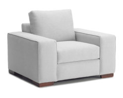 Apt2B - Melrose Place Wide Arm Chair, Stone, 45x39x27 - This is a chair that everyone will fall in love with. Low and cushy with wide arms, it's definitely made for kicking back, but it's stylish square design and sturdy bulk give it a strong and stately presence in the room. The chocolate brown upholstery suits the chair's masculine style, but the white or light gray upholstery contrasts with the heavy shape in an exciting way, making it look fresh and buoyant.