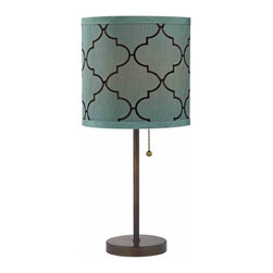 Pull-Chain Bronze Table Lamp with Marrakesh Pattern Drum Shade -