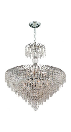 """Worldwide Lighting - Empire 14 Light Chrome Finish and Clear Crystal Chandelier 24"""" D x 28"""" H Large - This stunning 14-light crystal chandelier only uses the best quality material and workmanship ensuring a beautiful heirloom quality piece. Featuring a radiant chrome finish and finely cut premium grade crystals with a lead content of 30%, this elegant chandelier will give any room sparkle and glamour. Worldwide Lighting Corporation is a privately owned manufacturer of high quality crystal chandeliers, pendants, surface mounts, sconces and custom decorative lighting products for the residential, hospitality and commercial building markets. Our high quality crystals meet all standards of perfection, possessing lead oxide of 30% that is above industry standards and can be seen in prestigious homes, hotels, restaurants, casinos, and churches across the country. Our mission is to enhance your lighting needs with exceptional quality fixtures at a reasonable price."""