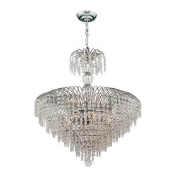 "Worldwide Lighting - Empire 14 Light Chrome Finish and Clear Crystal Chandelier 24"" D x 28"" H Large - This stunning 14-light crystal chandelier only uses the best quality material and workmanship ensuring a beautiful heirloom quality piece. Featuring a radiant chrome finish and finely cut premium grade crystals with a lead content of 30%, this elegant chandelier will give any room sparkle and glamour. Worldwide Lighting Corporation is a privately owned manufacturer of high quality crystal chandeliers, pendants, surface mounts, sconces and custom decorative lighting products for the residential, hospitality and commercial building markets. Our high quality crystals meet all standards of perfection, possessing lead oxide of 30% that is above industry standards and can be seen in prestigious homes, hotels, restaurants, casinos, and churches across the country. Our mission is to enhance your lighting needs with exceptional quality fixtures at a reasonable price."