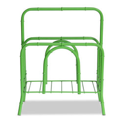 Faux Bamboo Magazine Rack In Lime - 17.75 h x 15 w x 8.25 d