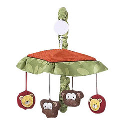 Sweet Jojo Designs - Jungle Time Crib Mobile - Jungle Time Musical Crib Mobile sets will help complete the look of your Sweet Jojo Designs nursery. This set includes musical mobile frame, canopy with hanging toys, and matching arm sleeve cover. The wind-up mobile spins and plays Brahms's lullaby. This mobile fits standard cribs.Plastic mobile frame with music boxPlastic clamp fits standard rails up to 2 3/4 in. wideFabric Canopy with hanging toys Arm Sleeve Cover Please note the plastic mobile clamp fits standard rails up to 2 3/4 in. wide. Non-standard crib rails may be wider than 2 3/4 in. and may not work with these mobile frames.