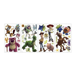RoomMates Peel & Stick - Toy Story 3 Wall Decals - Toy Story is back and better than ever! Now you can bring all the popular characters to your walls with this colorful and creative set of wall decals. Kids will love decorating with Woody and the gang, and moms will love how easy RoomMates are to apply, remove, and reposition. They're totally reusable! Be sure to check out the matching peel and stick wall border and XL wall murals to create a full Toy Story room effect! Bring home the fun of Disney-Pixar with our huge assortment of Toy Story wall decals, wallpaper, peel and stick borders, murals, and more. This Toy Story wall decor collection is great for fans of any age. Take your walls to infinity and beyond!.