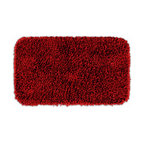 """Sands Rug - Quincy Super Shaggy Red Hot Washable Runner Bath Rug (2'6"""" x 4'2"""") - Jazz up your bathroom, shower room, or spa with a bright note of color while adding comfort you can sink your toes into with the Quincy Super Shaggy bathroom collection. Each piece, whether a bath runner, bath mat or contoured rug, is created from soft, durable, machine-washable nylon. Floor rugs are backed with skid-resistant latex for safety."""