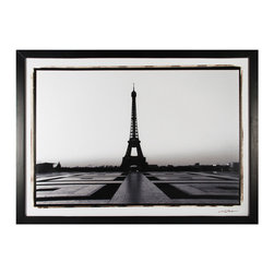 Sterling Industries - Custom Eiffel Tower At Dawn Framed Art - Custom Eiffel tower at dawn by Sterling Industries. Black frame and print under glass.