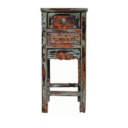 Golden Lotus - Rustic Blue Lacquer Flower Carving Side Tea Table - This is an old cabinet restored with rustic blue lacquer on a rough floral carving motif. The hardware is an old style long iron handle.