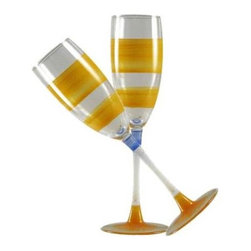 Retro Stripe Orange Champagne Glasses  Set of 2 - This lovely hand painted champagne flute is in a retro style.  It is orange with accent colors.  Perfect for any season or occasion.  Something to be handed down from generation to generation.  Proudly hand painted in the USA.