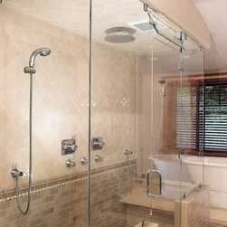 Frameless Shower Doors - This is an example from Cardinal Glass of Frameless shower and bath doors that we sell and install.
