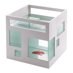 Fish hotel by Teddy Luong for Umbra - This is so much cooler than the boring goldfish bowl I had as a kid. This fish hotel is only $25.00, so if you want to get super-fancy, buy two. They are stackable, which means the bottom one can be the lobby and the top one can be a Randy Gerber V.I.P. bar called SkyWater.
