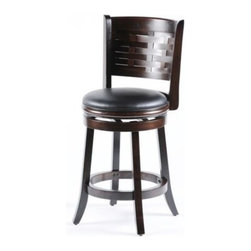 Sumatra Counter Stool - The Sumatra Counter stool is composed of hardwood with a cappuccino finish.  A woven backrest design offers great styling while the leather seat provides comfort.