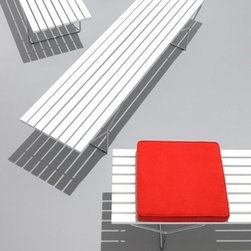 Knoll - Bertoia Bench Cushion | Knoll - Design by Harry BertoiaThe foam Cushion for the Bertoia Bench is offered in a range of KnollTextiles and Spinneybeck leathers. The optional Cushion is made of firm foam upholstered in your choice of fabric or leather with welt detail. Order up to three cushions (maximum) for a single bench.