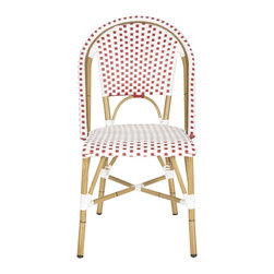 Safavieh - Salcha Indoor-Outdoor Stacking Side Chair - Red&White - Whether your style is country or coastal, the Salcha indoor-outdoor stacking side chair from Safavieh is a colorful solution to extra guest seating. Inspired by classic European bistro chairs, the pretty and practical Salcha is crafted of red and white PE wicker and aluminum faux bamboo for easy care.