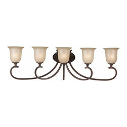"Triarch International - Triarch International 25983 Wrought Iron Five Light 45.5"" Wide Bath Fixture from - 5 light bath fixture featuring Hand Painted Rainbow Scavo GlassRequires 5-100w Medium Base Bulbs (Not Included)"