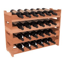 Wine Racks America - 24 Bottle Mini Scalloped Wine Rack in Redwood, (Unstained) - Stack four 6 bottle racks with pressure-fit joints for proper storage of 24 wine bottles. This rack requires no hardware for assembly and is ready to use as soon as it arrives. Makes the perfect gift and stores wine on any flat surface.