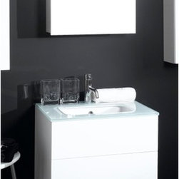 Iotti - 24 Inch Bathroom Vanity Set - A compact vanity set with contemporary style, available in Glossy White, Wenge, Gray Oak and Natural Oak finishes. Topped in white glass with an inset ceramic sink, this is a striking look that's made to last. Push-to-open double drawers give easy access to your storage and soft-close runners give the drawers longer life and lower noise in operation. The mirrored door on the two-shelf medicine cabinet is scratch and corrosion resistant. Imported from Italy. Set Includes: . Vanity Cabinet (2 drawers). Fitted ceramic sink with glass top (23.6 inch ). Medicine Cabinet (20.6 inch x 27.7 inch x 5.7 inch ). Vanity Light (11.8 inch ). Vanity Set Features:. Vanity cabinet made of engineered wood. Cabinet features waterproof panels and push to open drawers. Available in Glossy White (as shown), Gray Oak, Natural Oak, Wenge. Cabinet features 2 drawers. Faucet not included. Perfect for modern bathrooms. Made and designed in Italy. Includes manufacturer 5 year warranty.