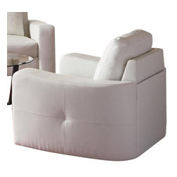 "Coaster - Chair (White) By Coaster - Dimension: 61.5""W x 33.5""D x 33.75""H Seat Height: 18.5"" Seat Depth: 19"" Finish: White Material: Leatherette Sofa Chair with Stitched Design in White Leatherette This chair will make a wonderful addition to your living room or den. Its contemporary shape enhances any space with big, plush cushions, and slightly flared design that welcomes you with open arms. A stitched design adorns the back cushions, as well as the outsides of the square track arms. Durable hardwood solid frame. Poly fill back pillow and webbed base. Simple KD construction. Matching sofa and loveseat are available separately. Also available in black."