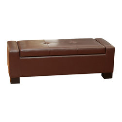 Great Deal Furniture - Lochlan Leather Storage Ottoman, Henna - The Lochlan Storage Ottoman offers a sleek storage solution for any room in your home. The top easily props up to reveal a spacious interior for pillows, blankets, books, and more. The tufted design on the top of the ottoman provides padding for comfortable seating. Use this ottoman as a coffee table, storage unit or for additional seating.