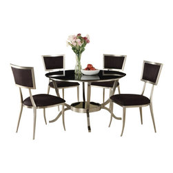 """Acme - 5-Piece Abbott Collection Glass Top Dinette Set with Black Glass Top - 5-Piece Abbott collection glass top dinette set with black glass top and chrome legs with fabric upholstered chairs. This set features a glass top table with chrome metal base and glass top, 4 - side chairs with a black fabric upholstery. Table measures 48"""" Dia. 8mm black glass top. Chairs measure 36"""" H at the back. Some assembly required."""