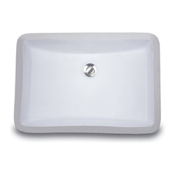 "UM-18x12-W - 18"" x 12"" Undermount Rectangle Ceramic Vanity Sink with Overflow. Available in White or Bisque."