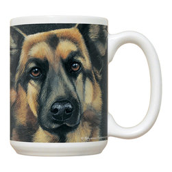 240-German Shepherd Mug - 15 oz. Ceramic Mug. Dishwasher and microwave safe It has a large handle that's easy to hold.  Makes a great gift!