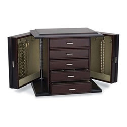 "Reed & Barton - Diva Dk. Mahogany With Pale Aloe Jewelry Chest - Diva - for those who deserve the very best! This outstanding Reed And Barton jewelrychest offers an abundance of storage and attractive styling. Its rich,dark mahogany finish and luscious pale sage faux suede interior makesit the perfect addition to any decor. Bright, contrasting silver-tonedrawer and door pulls complete the look. Side doors swing open toreveal pendant hooks and pocket shelves to accommodate a wide range andlengths of necklaces. Earrings, rings, pins and bracelets are in theirelement in the myriad compartments found within each drawer. This would make a great gift for jewelry lovers. 13 1/2"" x9 1/2"" x 11 3/4"" H."