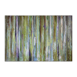 "Uttermost - ""Colorful Expressions"" Hand-Painted Art - Add depth and beauty to your wall with this stunning abstract piece by Grace Feyock. The pleasing strips of color have been hand-painted onto canvas, then stretched with wooden bars. The overall effect is one of subtle brilliance for your decor."