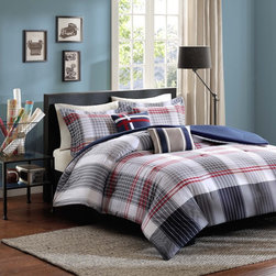 ID-Intelligent Designs - Intelligent Design Harper 5-Piece Comforter Set - For an updated plaid,the Intelligent Design Harper Comforter Set is perfect for your space. The taupe and blue vertical stripes work their way down the comforter and meet red vertical stripes on a blue base for a unique design.