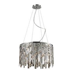 Elk Lighting - Kingshill 9 -Light Crystal Pendant Lamp in Clear and Chrome - 9 light crystal pendant lamp in clear and chrome finish