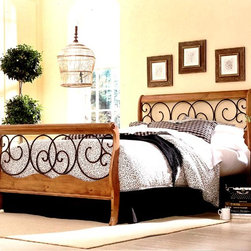Leggett/Platt Fashion Bed - The Dutchman Wood Bed in Autumn Brown Finish - Choose Size: DoubleSwirls of iron cast metal and wood melt into one another as complementary pieces in this quality bed.  Sturdy with great edges, this piece represents the perfect complement to contemporary bedroom furniture.  Enjoy the craftsmanship and quality of this piece. * Included: Headboard, footboard, and frame . Finish: Autumn Brown metal finish and Honey Oak wood. Not Included: Linens and mattress . Brass, plated brass, painted metal or finished wood components comes with a manufacturer 10 year limited warranty. Headboard: 50 in. H. Footboard: 34 1/8 in. H