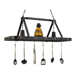 Hi-Lite MFG - Fleur De Lis 44 in. 2-Lite Pot Rack - Includes six pot rack hooks, 3 ft. chain and 7 ft. wire. Accessories not included. UL listed. Made from steel. Black leather finish with accent copper. 44 in. L x 15 in. W x 17 in. HHi-Lite achieved success through attention to detail and stubbornness to only manufacture the highest quality product. Hi-Lite has built its reputation as a premier lighting manufacturer by using only the finest raw materials, inspirational designs, and unparalleled service. This allows us great flexibility with our designs as well as offering you the unique ability to have your custom designs brought to light.