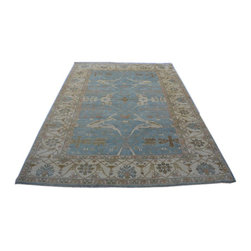 Oushak Rug, Sky Blue 10'x14' Hand Knotted 100% Wool Oriental Rug SH14241 - Hand Knotted Oushak & Peshawar Rugs are highly demanded by interior designers.  They are known for their soft & subtle appearance.  They are composed of 100% hand spun wool as well as natural & vegetable dyes. The whole color concept of these rugs is earth tones.