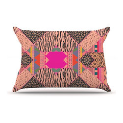 """Kess InHouse - Vasare Nar """"New Wave Zebra"""" Pattern Pink Pillow Case, King (36"""" x 20"""") - This pillowcase, is just as bunny soft as the Kess InHouse duvet. It's made of microfiber velvety fleece. This machine washable fleece pillow case is the perfect accent to any duvet. Be your Bed's Curator."""