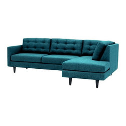 Apt2B - Logan 2Pc Sectional, Chicago Blue, Chaise on Left - Add a bit of vintage glamour to your space with the Logan. Sleek wood legs and button tufted back cushions take this modern shape to an elevated level. The ultimate show piece for your stylish room. Each piece is expertly handmade to order in the USA and takes around 2-3 weeks in production. Features a solid hardwood frame and upholstered in a textured poly-blend fabric.