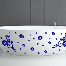 StickONmania - Bathtub Design Decal #16 - These decals come with two of each element mirrored, you choose how to place them.A vinyl decal sticker that lets you choose how to decorate. Decorate your home with original vinyl decals made to order in our shop located in the USA. We only use the best equipment and materials to guarantee the everlasting quality of each vinyl sticker. Our original wall art design stickers are easy to apply on most flat surfaces, including slightly textured walls, windows, mirrors, or any smooth surface. Some wall decals may come in multiple pieces due to the size of the design, different sizes of most of our vinyl stickers are available, please message us for a quote. Interior wall decor stickers come with a MATTE finish that is easier to remove from painted surfaces but Exterior stickers for cars,  bathrooms and refrigerators come with a stickier GLOSSY finish that can also be used for exterior purposes. We DO NOT recommend using glossy finish stickers on walls. All of our Vinyl wall decals are removable but not re-positionable, simply peel and stick, no glue or chemicals needed. Our decals always come with instructions and if you order from Houzz we will always add a small thank you gift.