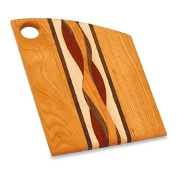 """Picnic Plus - Regi Cheese Cutting Board, Wood - Picnic Plus Regi Cheese Board, Cutting Board, Made In The USA, Wood. Color/Design: Wood; Beautifully handmade in the USA; Individually handmade by a skilled American craftsman; Designed and crafted from a variety of hardwoods such as Cherry, Maple, Walnut, Oak, Paduak, Ash and Purpleheart; Due to the construction and design of each board and the natural wood grain no two boards will be exactly alike; Support our local craftsman with your purchase of this hand crafted board; Hand wash only. Dimensions: 8 1/4""""W x 11 3/8""""l x 1""""H"""