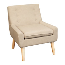 Great Deal Furniture - Brockston Fabric Retro Accent Chair, Brown - Make your room unique with a blast from the past. This retro-chic Brockston chair will add the perfect pop of color and funk to any space. Upholstered in brown fabric, this chair is designed with a large padded seat and tufted backrest. If you're looking to add a unique piece to your home, you will enjoy the look and feel of this chair.