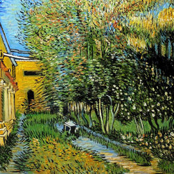 """overstockArt.com - Van Gogh - Asylum and Garden - 20"""" X 24"""" Hand Painted Canvas Hand painted oil reproduction of, Asylum and Garden. Today it has been carefully recreated detail-by-detail, color-by-color to near perfection. Why settle for a print when you can add sophistication to your rooms with a beautiful fine gallery reproduction oil painting? Vincent Van Gogh's restless spirit and depressive mental state fired his artistic work with great joy and, sadly, equally great despair. Known as a prolific Post-Impressionist, he produced many paintings that were heavily biographical. This work of art has the same emotions and beauty as the original by Van Gogh. Why not grace your home with this reproduced masterpiece? It is sure to bring many admirers!"""