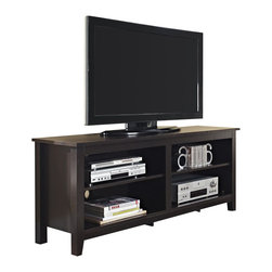 Walker Edison - Walker Edison 58 in. Wood TV Console in Espresso - Walker Edison - TV Stands - W58CSPES - Style and function combine to give this contemporary wood TV console a striking appearance. The design creates a classy modern look crafted from high-grade MDF and durable laminate. Console accommodates most flat-panel TVs up to 60 in. Console also provides ample space for A/V components and other media accessories with adjustable shelving.