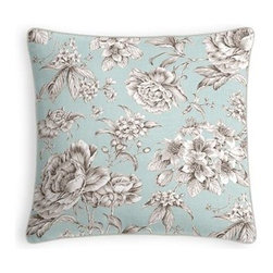 Light Blue Floral Toile Custom Throw Pillow - Every decorator knows: it's the details that make a room.  That's why we love the Microcord Throw Pillow with a thin piped edge that adds just a hint of color. We love it in this beautiful sky blue and gray toile floral cotton sateen. Modern or traditional? You be the judge.