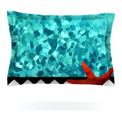 """Kess InHouse - Oriana Cordero """"Turquoise Ocean"""" Blue Aqua Pillow Sham (Cotton, 30"""" x 20"""") - Pairing your already chic duvet cover with playful pillow shams is the perfect way to tie your bedroom together. There are endless possibilities to feed your artistic palette with these imaginative pillow shams. It will looks so elegant you won't want ruin the masterpiece you have created when you go to bed. Not only are these pillow shams nice to look at they are also made from a high quality cotton blend. They are so soft that they will elevate your sleep up to level that is beyond Cloud 9. We always print our goods with the highest quality printing process in order to maintain the integrity of the art that you are adeptly displaying. This means that you won't have to worry about your art fading or your sham loosing it's freshness."""