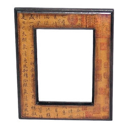 Oriental Unlimted - Hand Painted Chinese Character Picture Frame - Handpainted Chinese characters in shades of Black and Red. Backdrop of antiqued Yellow adorn this lovely picture frame. Fits 5 in. W x 7 in. H pictures. Features an indigenous Fujian lacquering style. Built with mahogany and Elm wood. Antique-finished for a gorgeous authentic look. Resulting surface has a matte finish. 8 in. W x 10 in. H x 1 in. D