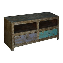 Sierra Living Concepts - Midnight Double Feature Reclaimed Wood TV Cabinet Media Center - Make every night a Media night with our double Feature Entertainment Cabinet. This solid hardwood cabinet features two side by side open shelves and two bottom drawers.