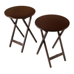 Bay Shore - Round Folding Table in Espresso Finish - Set - Set of 2. Can be used on the patio, porch, living room, dining room, den, game room, kitchen or anywhere you want some extra room. Works for a variety of rooms, occasions and decorating challenges. Made from eco-friendly China maple. No assembly required. 19.75 in. Dia. x 29 in. H (20 lbs.)The Bay Shore Collection 2 Piece Round Folding Bistro Tray Table set gives every home lots of decorating flexibility! Need extra room for snacks at a party?  How about a nice side table for the office? Have a dark corner you want to fill with light but have nowhere to put the lamp?  Cover the 19.75 in. Round Table with a beautiful linen and witness a decorating triumph! Made from Eco-Friendly China Maple, a renewable resource!  China Maple is not a cheaper soft wood which easily dents and scratches.  China Maple, in the same family as American Maple, is a hardwood; heavy, dense and durable.  This set will last for years and with proper care look as good as new long after you get it home!
