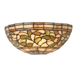 Meyda Tiffany - Meyda Tiffany Sconces Wall Sconce in Tiffany Items - Shown in picture: Turning Leaf Wall Sconce; Subtle Toned Autumn Gold - Russet And Moss Green Leaves Swirl Against An Amber Mauve Background In This Stained Glass Tiffany Studio Reproduction. This Elegant Wall Sconce Will Complement Any D'Cor.