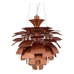 """LexMod - Petal 24"""" Chandelier in Copper - Petal 24"""" Chandelier in Copper - Elevate the heart and uplift the mind in a liberated release of light. The Petal Lamp is a study in perception stemming from the inner recesses of the soul. Reflect limitless possibilities and shower abundance as you diffuse light pleasantly with a striking classic for all times and settings. Set Includes: One - Petal Lamp - Silver, 24"""" For home or commercial use, Brushed aluminum petals, Light source hidden at center , Diffusion of light without glare, Cords adjustable to varied lengths , One 60 watt light bulb (Not Included) Overall Product Dimensions: 23.5""""L x 23.5""""W x 25.5""""H Maximum Cord length: 60""""L - Mid Century Modern Furniture."""