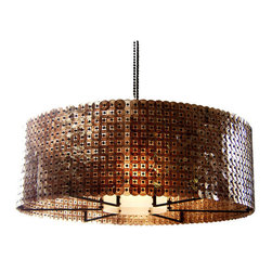Barrel Chandelier - The Barrel chandelier has one of the most unique shades I have ever seen. Composed of mica discs, the mica glimmers and provides a lovely light for over a dining room table or as the center light in a contemporary room.